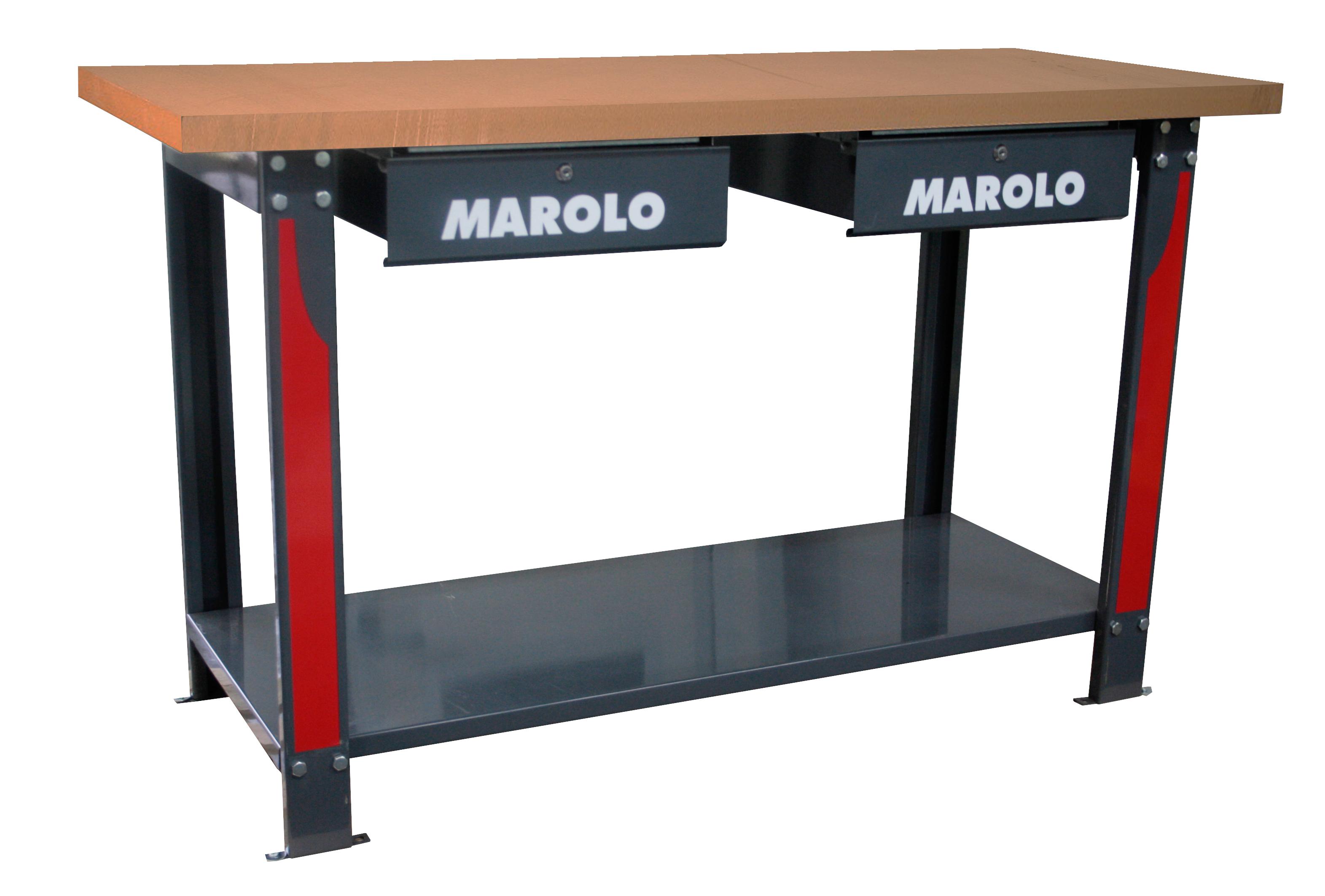 marolotest - werkbank holz 1.50 m - 2 schubladen
